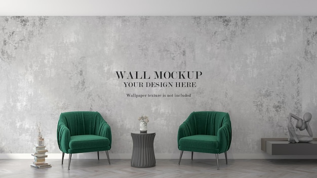 Waiting room wall template behind green armchairs