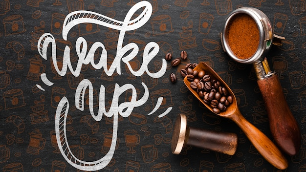 Wake up background with coffee stuff
