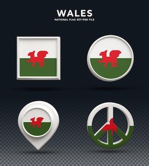 Кнопка купола 3d рендеринга флаг уэльса и на глянцевой основе
