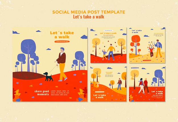 Шаблон сообщения в социальных сетях прогулка на природе