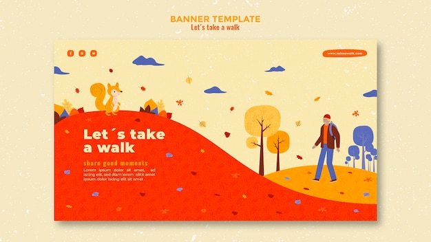 Walk in nature banner template