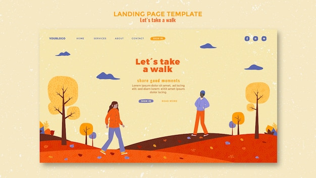 Walk in nature landing page template
