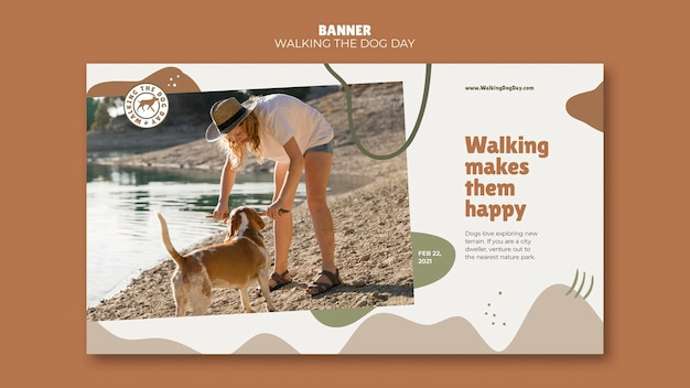 Walking the dog day modello di banner pubblicitario