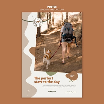 Modello di poster pubblicitario di walking the dog day Psd Gratuite