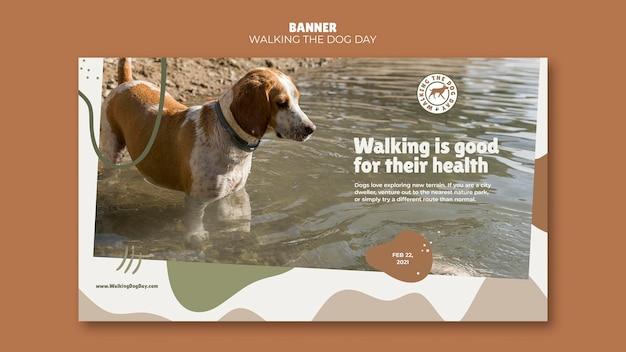 Walking the dog day banner template