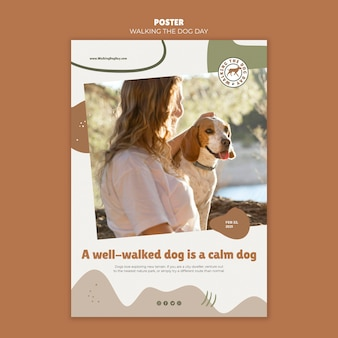 Walking the dog day poster template