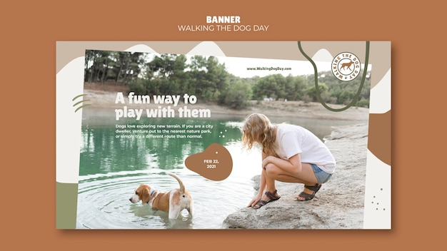 Walking the dog day template banner