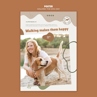 Walking the dog day template poster