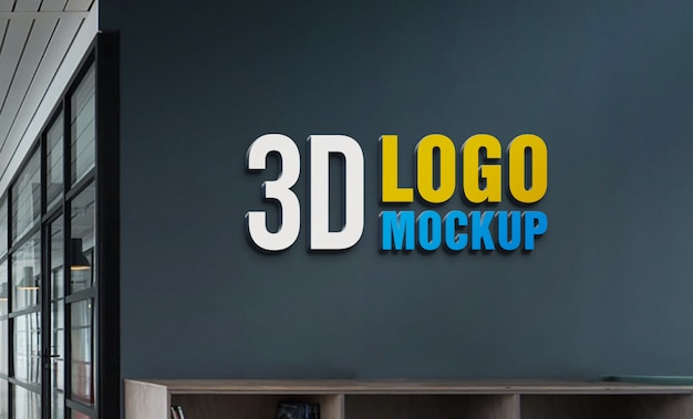 Wall 3d logo mockup, free office wall sign logo mockup