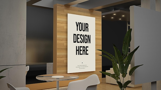 가구가있는 벽 및 프레임 디스플레이 모형