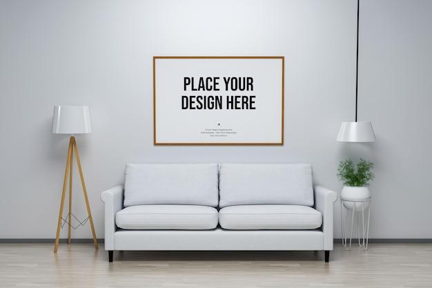 家具付きの壁とフレームのディスプレイモックアップ