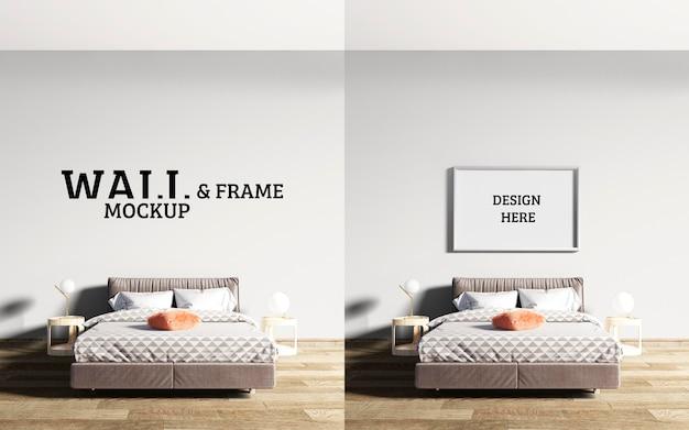 壁とフレームのモックアップのベッドルームには茶色のベッドが主流です