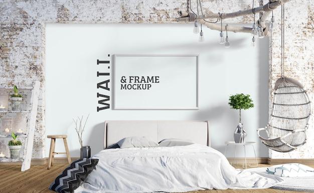壁とフレームのモックアップ-ベッドルームスタイルの工業用