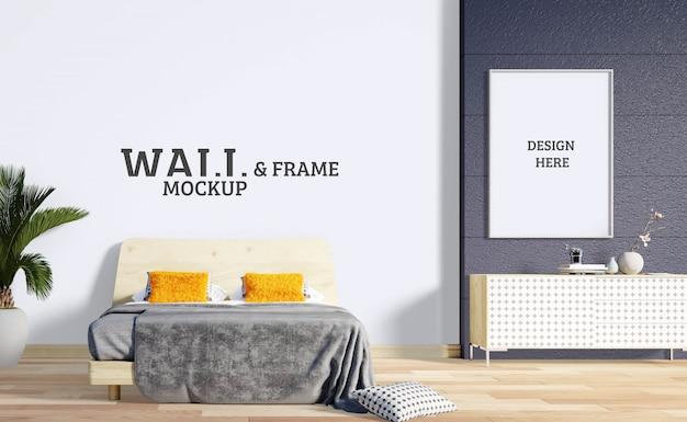壁とフレームのモックアップ-色とモダンなラインの寝室