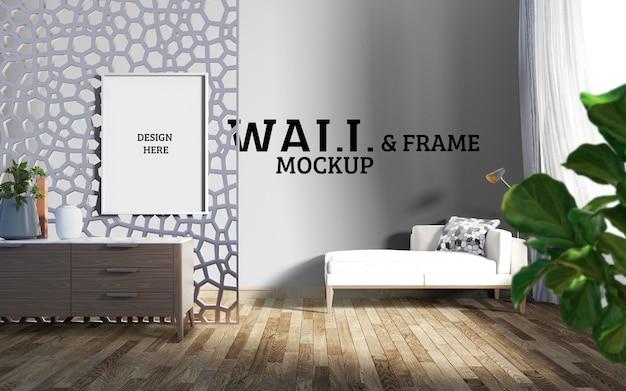 壁とフレームのモックアップ-印象的な多角形のパーティションでリビングルームを飾る