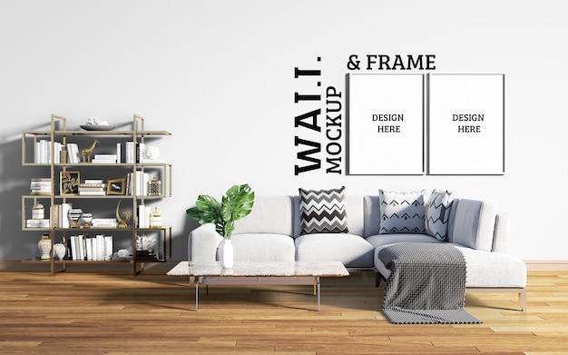 壁とフレームのモックアップ-ソファと棚付きのリビングルームのインテリア
