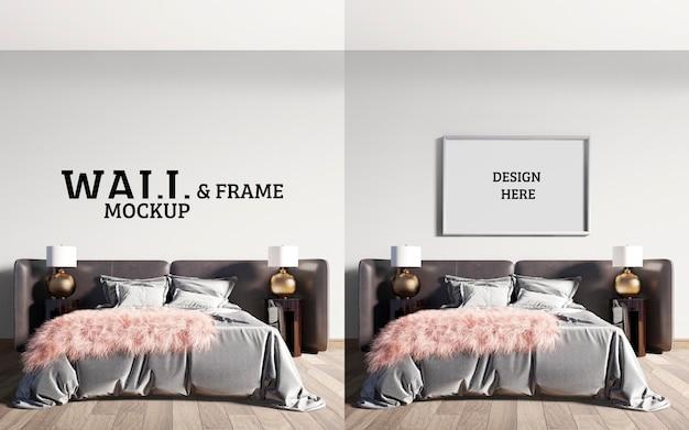壁とフレームのモックアップ印象的な大型ベッドを備えた豪華でモダンなベッドルーム