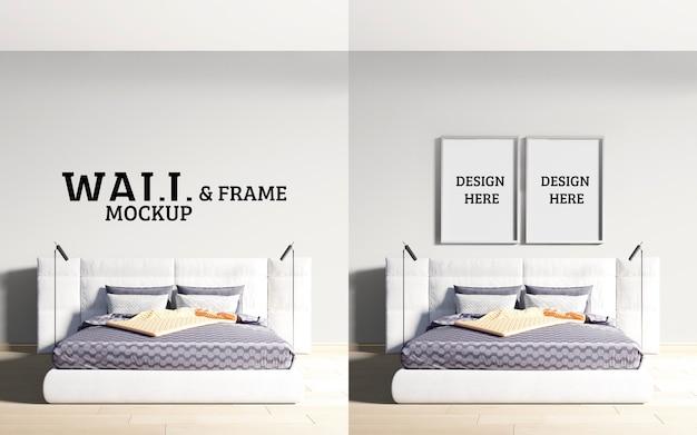 壁とフレームのモックアップの豪華でモダンなスタイルのベッドルーム