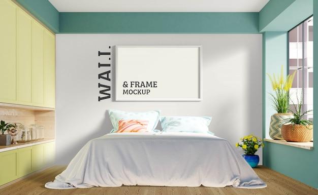 壁とフレームのモックアップ-モダンなベッドルームには大きなベッドがあります