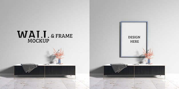 壁とフレームのモックアップ-モダンな装飾キャビネット