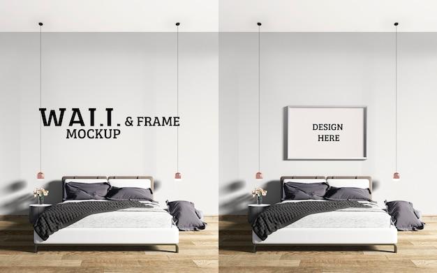 壁とフレームのモックアップモダンなスタイルのベッドルーム