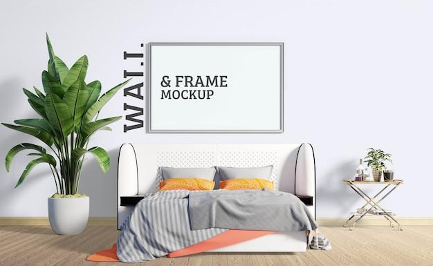 壁とフレームのモックアップ-ベッドルームはモダンなスタイルです