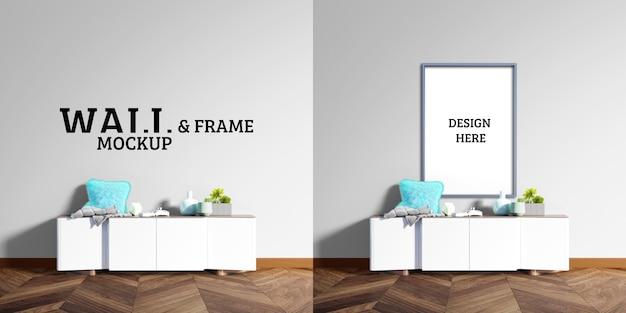 壁とフレームのモックアップ-白い装飾キャビネット