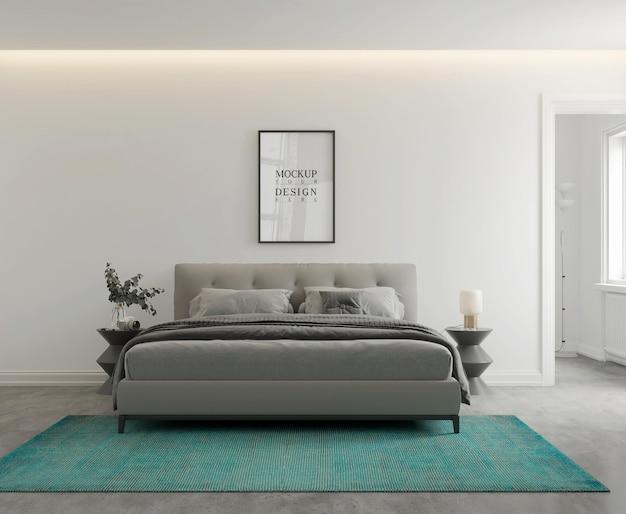 Стены и макет плаката в современной монохромной спальне 3d рендеринг