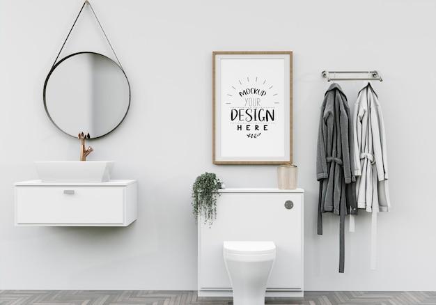 Arte della parete o cornice in tela in bagno mockup