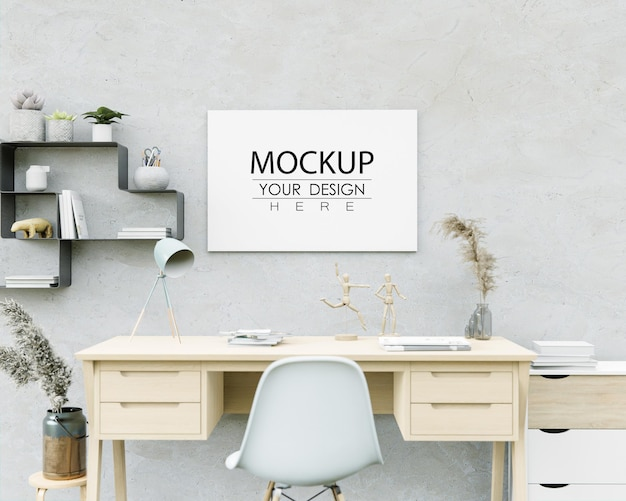 Wall art or canvas frame mockup over desktop workplace