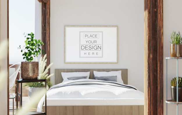 Wall art or canvas frame mockup interior in a bedroom