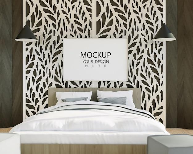 Стены искусства холст или фоторамка мокап интерьера в спальне