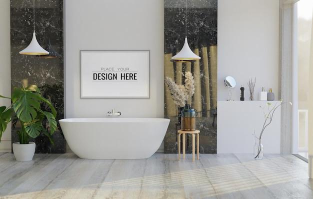 Стены искусства холст или фоторамка мокап на интерьер ванной комнаты