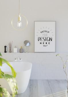 욕실 인테리어에 벽 아트 캔버스 또는 그림 프레임 모형