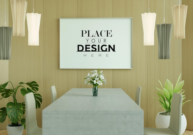 Tela artistica da parete o cornice in sala da pranzo mockup