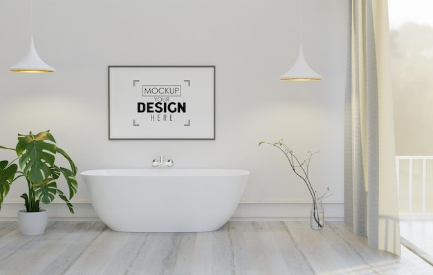 Wall art canvas or picture frame mockup on bathroom interior