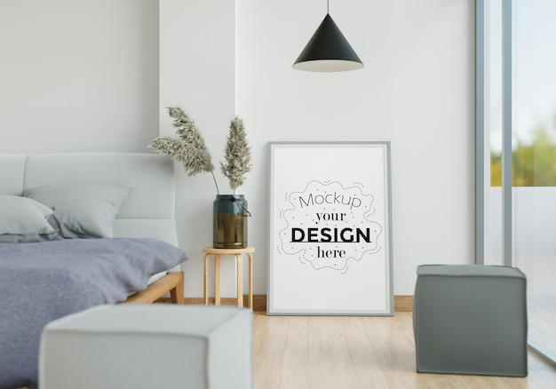 Wall art canvas or picture frame mockup interior in a bedroom