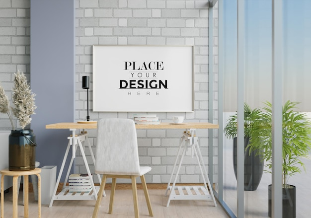 Wall art canvas or picture frame in office desk mockup