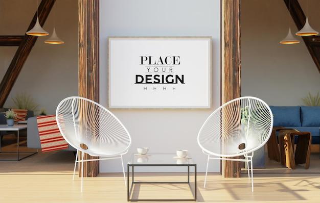 壁の芸術のモックアップ、日当たりの良いテラスまたはバルコニーで壁に掛かっているキャンバスフレーム
