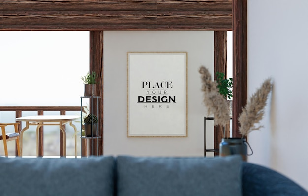 Wall art mockup, canvas frame in living room