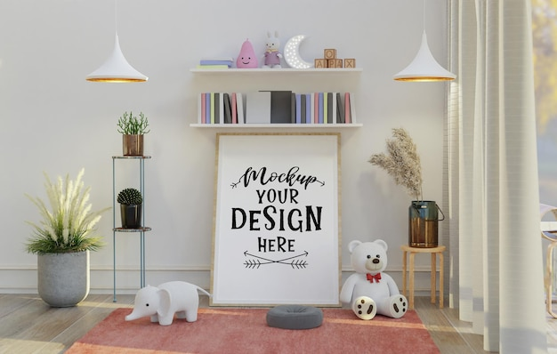 Wall art mockup, canvas or picture frame in living room