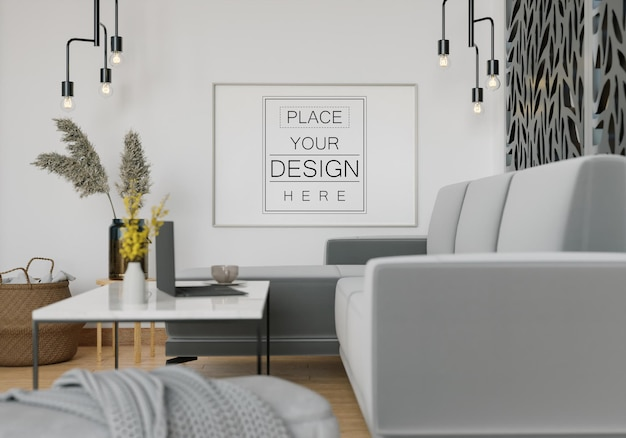 Wall art mockup, canvas or picture frame in living room Free Psd