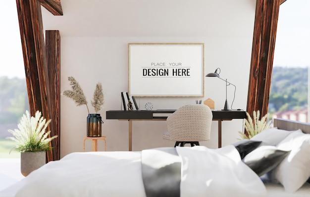 Настенное искусство или холст в рамке мокап интерьера в спальне
