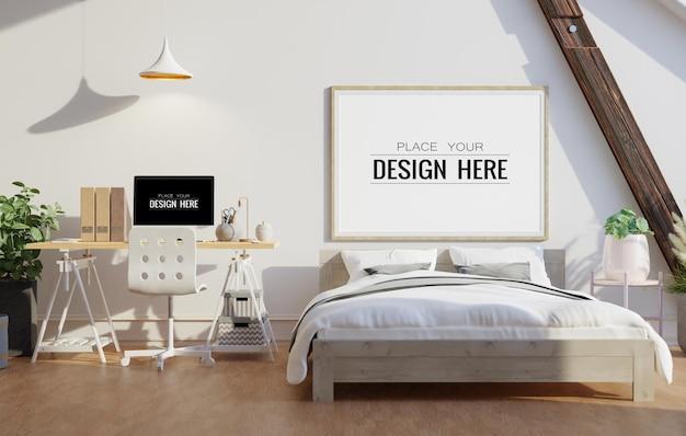 침실의 벽 예술 또는 캔버스 프레임 목업 인테리어