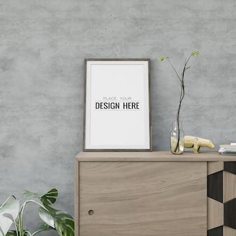 Настенное искусство или макет рамки холста над мебелью