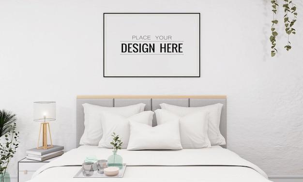 寝室のモックアップの壁の芸術または額縁