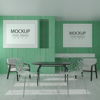 현대적인 레스토랑 모형의 벽 예술 또는 액자