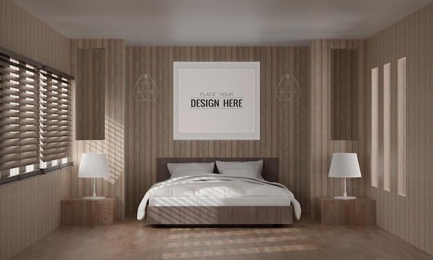 침실의 벽 예술 또는 그림 프레임 목업 인테리어