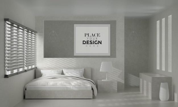 壁の芸術または額縁寝室のモックアップインテリア