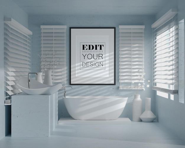 욕실 인테리어에 벽 예술 또는 그림 프레임 모형